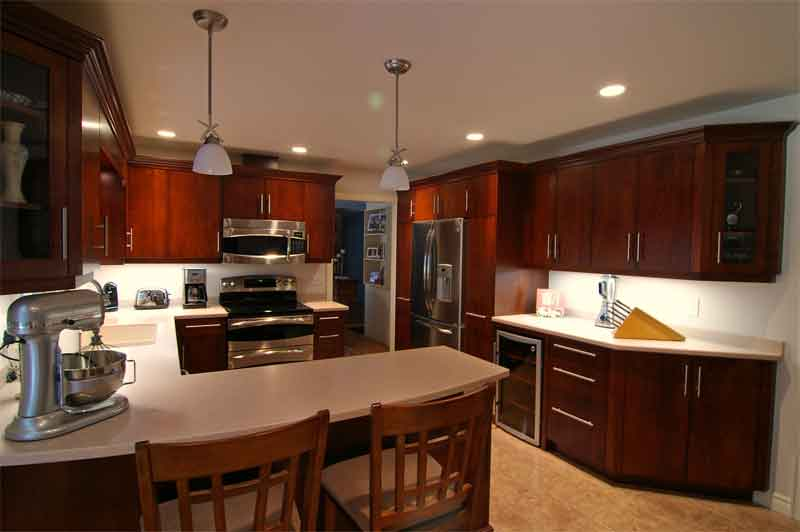 Clc kitchen cabinetry cherry wood contemporary design makes for a very happy homeowner - Cherry wood kitchen ideas ...