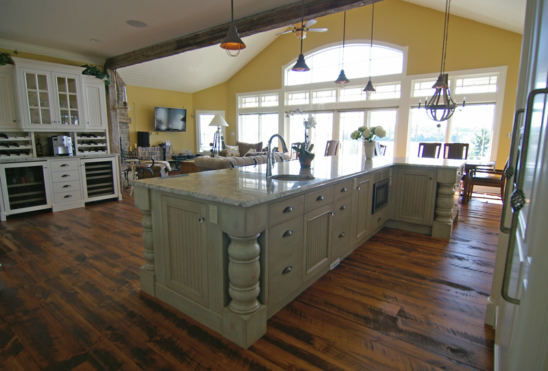 Custom kitchen cabinetry very big and beautiful also for Very large kitchen island