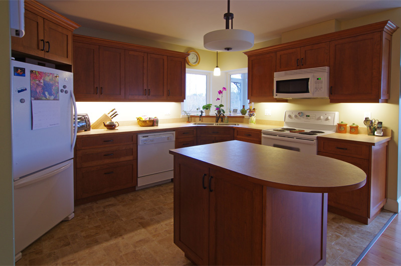 Compact Cherry Kitchen With Plenty Of Storage Nova Scotia Cabinetry