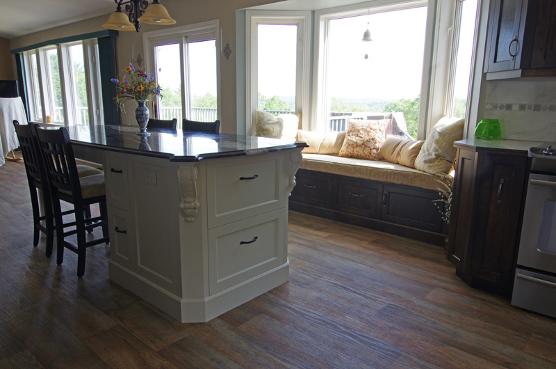 open concept kitchen with beautiful custom cabinets nova