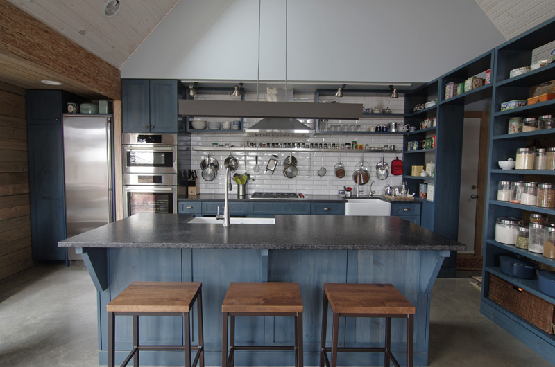 Showstopping blue steel kitchen