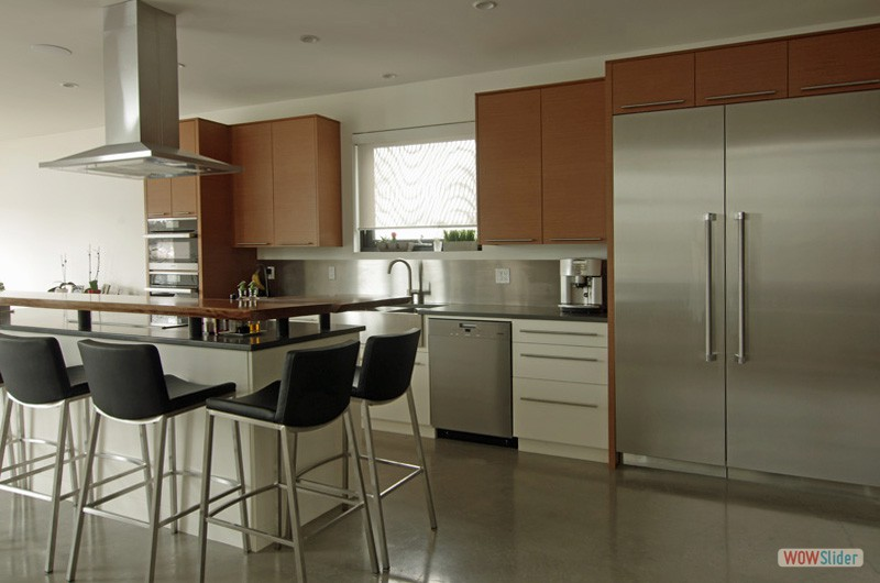 Contemporary Kitchen With Teak Grain South End Halifax
